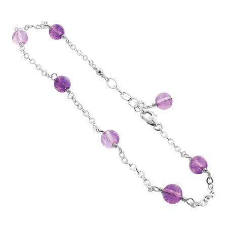 Gem Avenue 925 Sterling Silver Simulated Amethyst Handmade Bracelet 7 to 8 inch