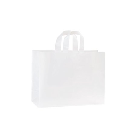 Frosted Shopping Bags (Large Clear Frosted Plastic Shopping Bags -  16