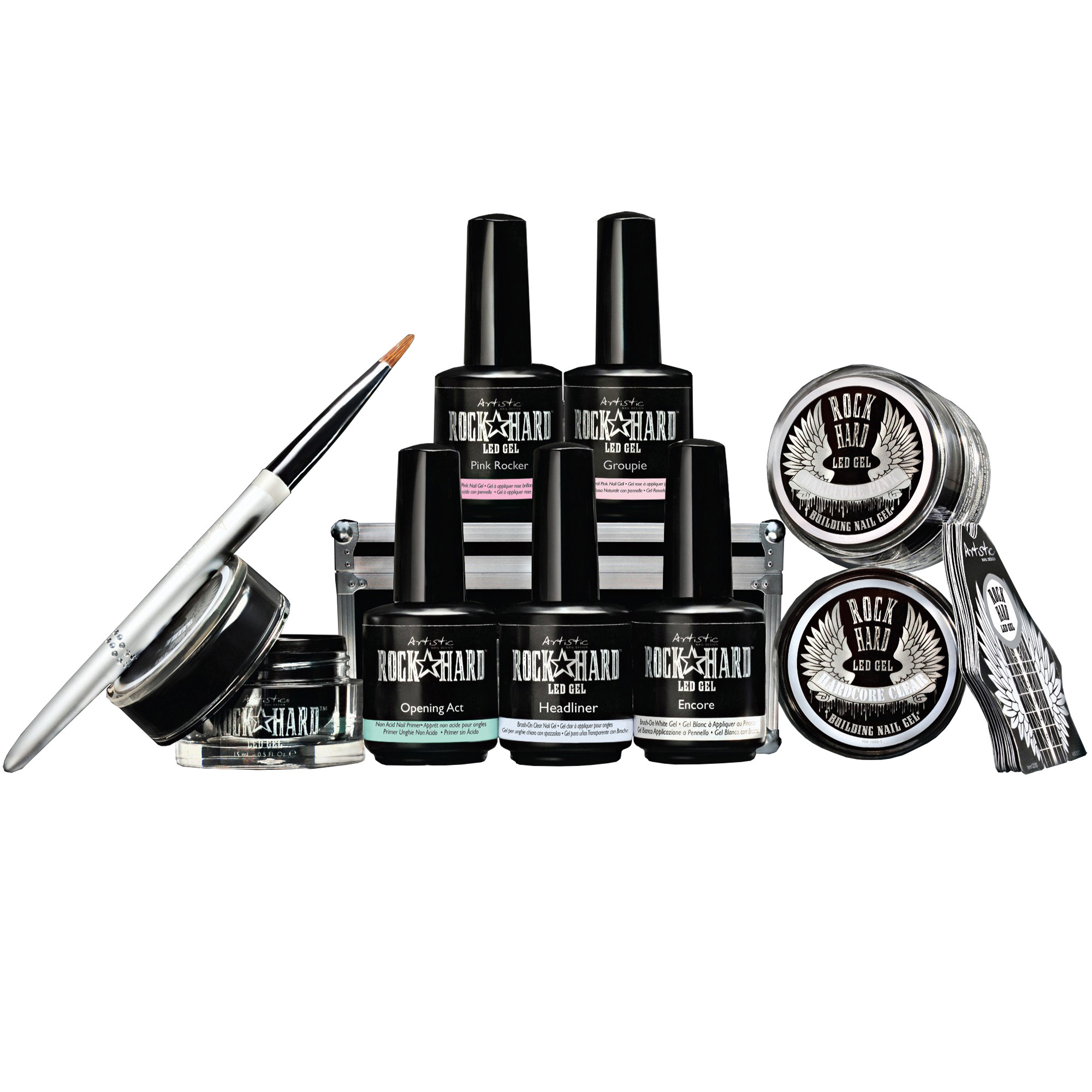 Artistic Rock Hard Gel Starter Kit with 8 Gels, Oval Brush, and Nail ...