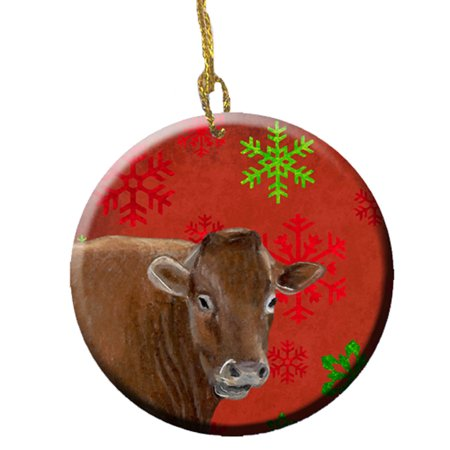 Cow Red Snowflakes Holiday Christmas Ceramic - Cow Christmas Ornaments