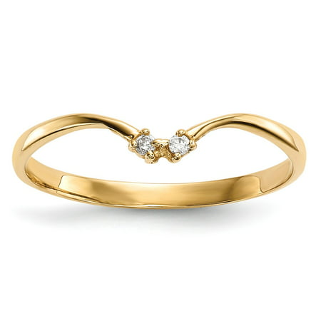 Solid 14k Yellow Gold 2-stone CZ Cubic Zirconia Wrap Ring (2mm) - Size 4 - Wrap Rings