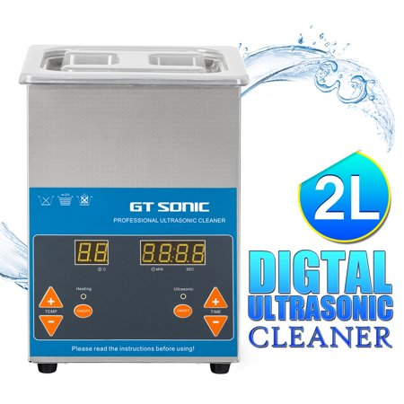 Stainless Steel Cookware Cleaner - Commercial Ultrasonic Cleaner 2L Total Heated Ultrasonic Cleaner with Digital Timer for Cleaning Eyeglasses Rings Stainless Steel Ultrasonic Cleaner