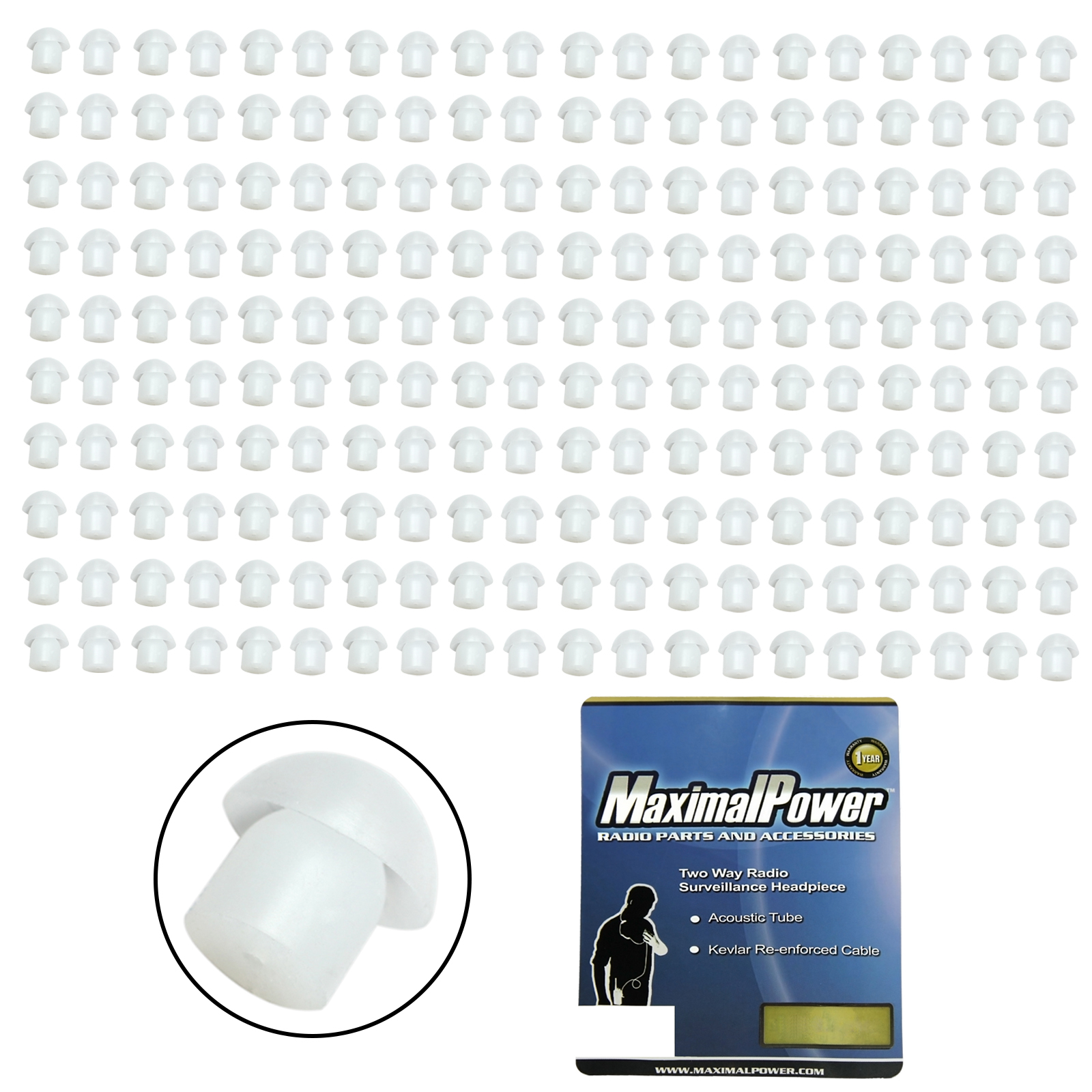 MaximalPower Clear Silicone Earpiece Ear Tip Motorola Kenwood Two-Way Radio - 200 Pack