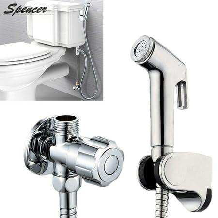 Bidet Sprayer - Spencer Portable Stainless Steel Handheld Bidet Toilet Sprayer Kit with Wall Bracket for Bathroom Diaper Washer