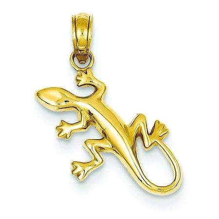 14K Gold Polished Gecko Pendant Charm Jewelry 17 x 15 mm