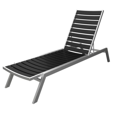 Recycled earth friendly chaise lounge chair black for Black and silver chaise lounge