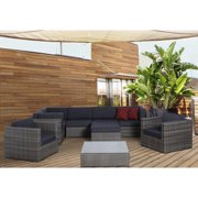 Atlantic Southampton 9 Piece Grey Wicker Sectional Set