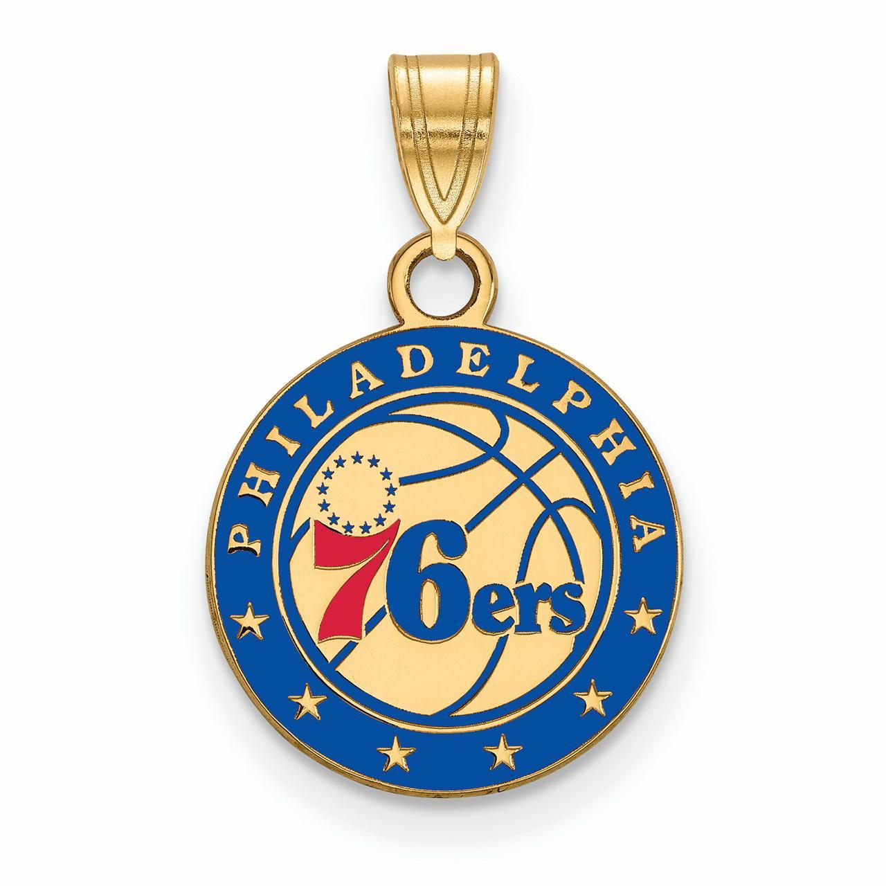 NBA Philadelphia 76ers 14kt Gold-Plated Sterling Silver Small Enamel Pendant