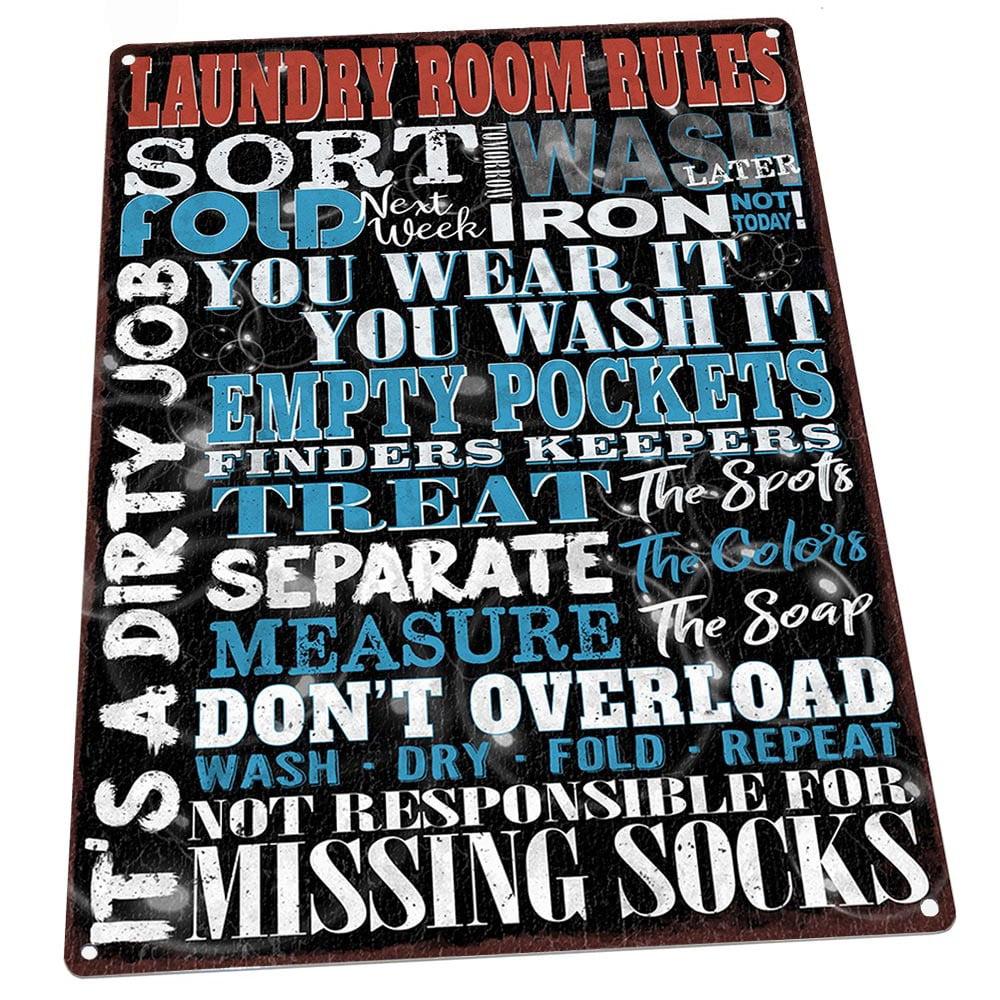 Laundry Room Rules 9 X12 Metal Sign Wall Decor For Office Or Meeting Room Walmart Com Walmart Com