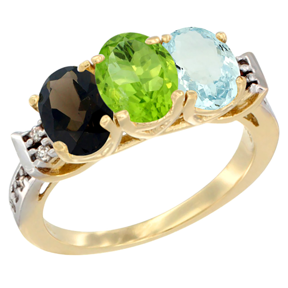 14K Yellow Gold Natural Smoky Topaz, Peridot & Aquamarine Ring 3-Stone Oval 7x5 mm Diamond Accent, sizes 5 10 by WorldJewels