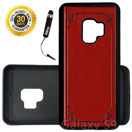 Custom Galaxy S9 Case (Red Leather Book) Edge-to-Edge Rubber Black Cover Ultra Slim   Lightweight   Includes Stylus Pen by Innosub Aa Red Rubber Light
