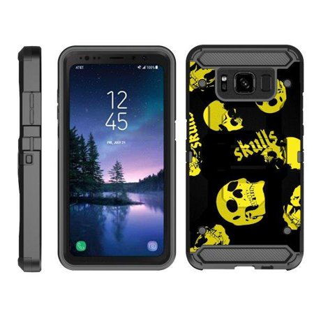 TurtleArmor ® | For Samsung Galaxy S8 Active G892 [Full Body Protection] Hybrid Kickstand Rugged Cover Holster Belt Clip Case - Yellow