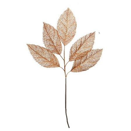 Golden Orange Glitter Coated Stem & Leaf Branch (39