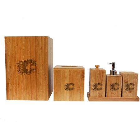 Nhl calgary flames engraved bamboo full bathroom set for Full bath set