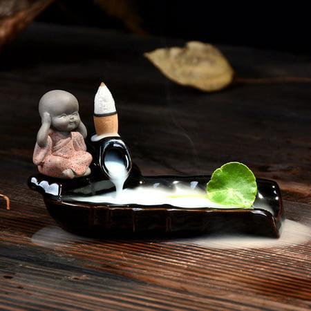 Moaere Handmade Ceramic Glaze Incense Burner Holder Buddhist Backflow Censer - Ceramic Hand Glazed Pedestal