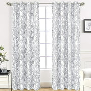 """Driftaway Tree Branch Botanic Pattern Painting Room Darkening/Thermal Insulated Grommet Lined Window Curtains, Set Of Two Panels, Each Size 52""""X84"""" (Gray)&Nbsp;"""