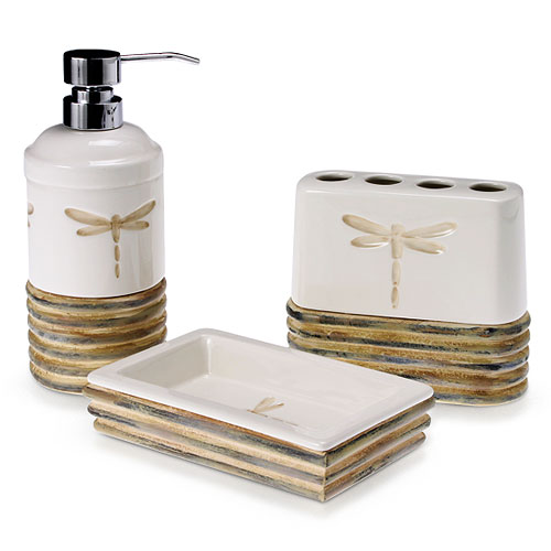 Home decor dragonfly 3 piece bathroom accessories set for Beige bathroom set