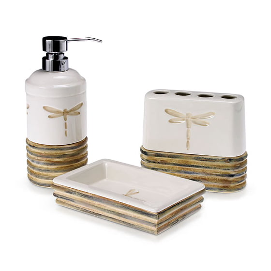 Dragonfly 3 piece bath accessory set for Bathroom accessories at walmart
