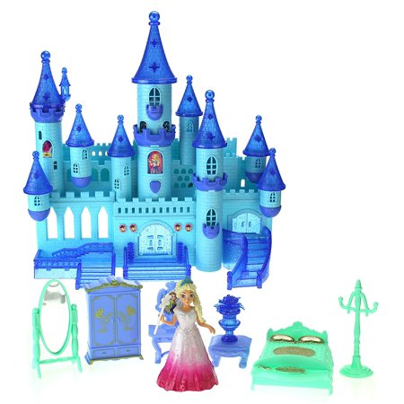 My Dream My Beauty Battery Operated Toy Castle Dollhouse w/ Light up Effects, Music, Doll Princess Figure, Furniture, &