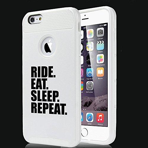 Apple iPhone (6 Plus) (6s Plus) Shockproof Impact Hard Soft Case Cover Ride Eat Sleep Repeat Bike MX (White)