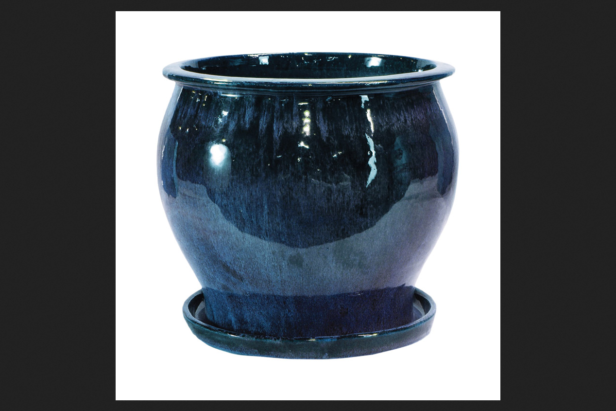 Lee's Pottery Blue Ceramic Glazed Planter 8 in. H by Lee's Pottery
