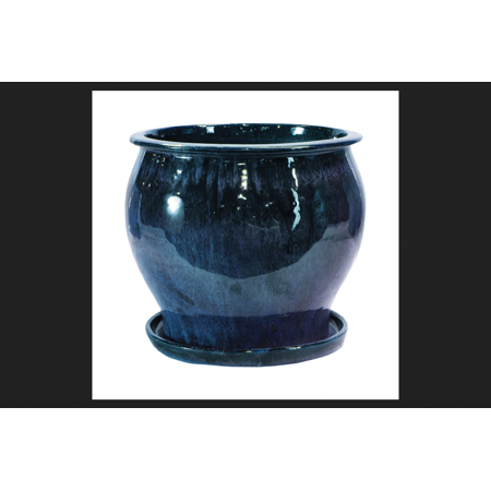 Lee's Pottery Blue Ceramic Glazed Planter 8 in. H