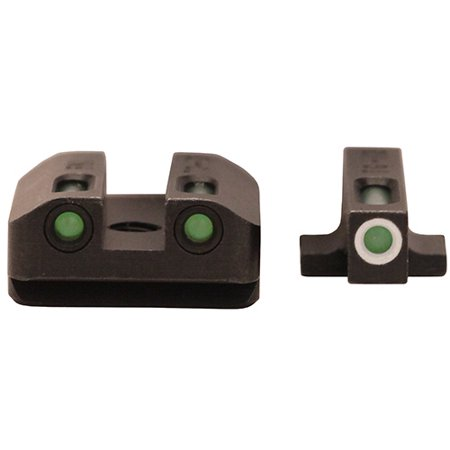 TRUGLO TFX DAY/NIGHT SIGHTS FN 9 TRITIUM GREEN W/WHITE OUTLINE FRONT GREEN REAR