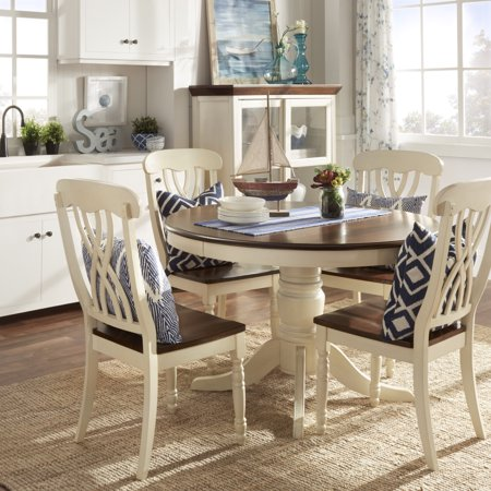 weston home two tone 5 piece round dining set antique white. Black Bedroom Furniture Sets. Home Design Ideas