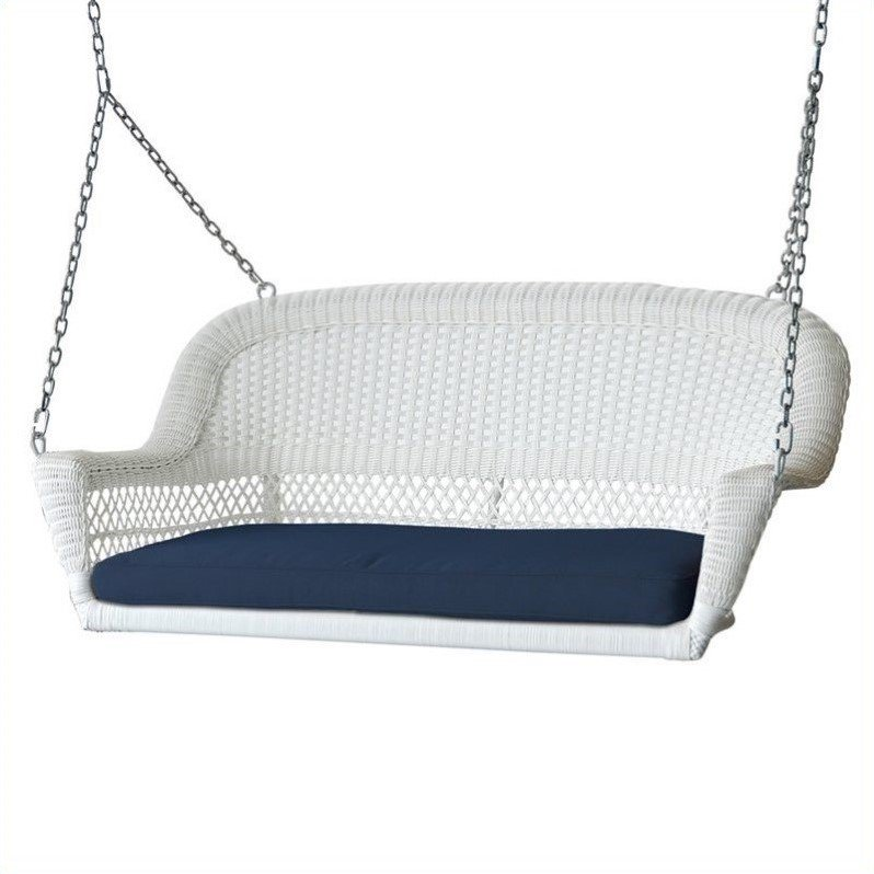 Jeco Wicker Porch Swing in White with Blue Cushion by Jeco Inc.