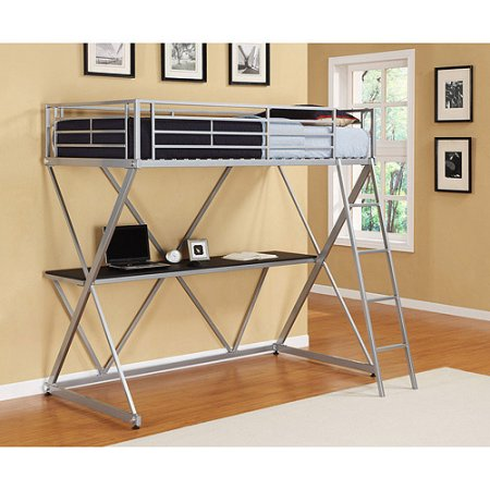 X Loft Bed over Workstation, Silver with Spa Sensations 6'' Memory Foam Mattress