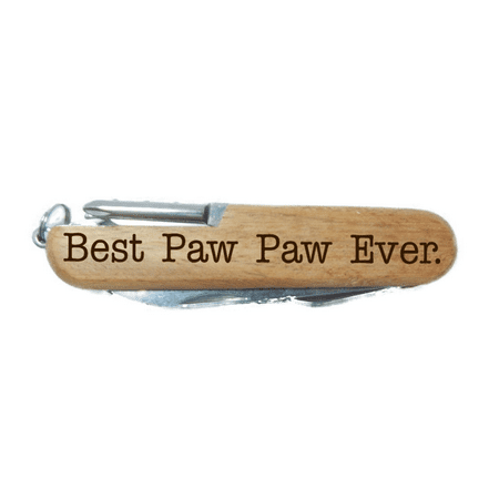 Fathers Day Gift for Grandpa Best Paw Paw Ever Laser Engraved Wood 8 Function Multitool Pocket Knife (PAW PAW)