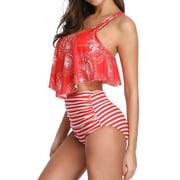Floral Print Two Piece Swimsuit Swimwear High Waist for Women Beachwear Push-Up Bra Padded Braces Lotus Bathing Suit