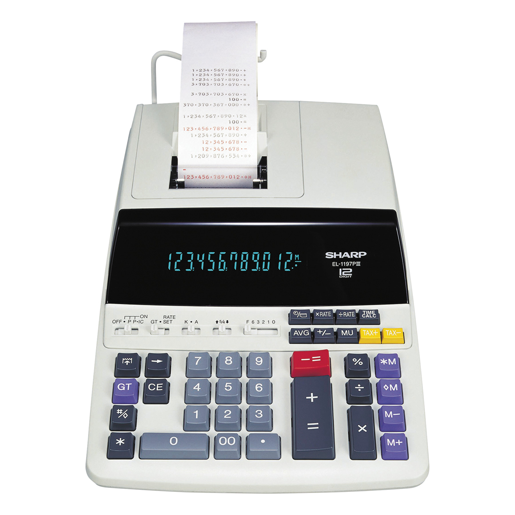 Sharp EL1197PIII Two-Color Printing Desktop Calculator, Black/Red Print, 4.5 Lines/Sec