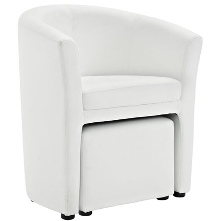 Hawthorne Collection Faux Leather Accent Chair with Ottoman in White - image 4 of 5
