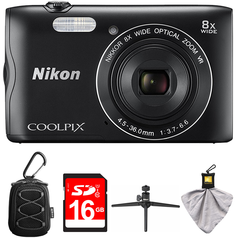Nikon Coolpix A300 20.1MP 8x Optical Zoom NIKKOR WiFi Digital Camera Black (26520) with Camera Case with Carabiner, 16GB Memory Card, Mini Table-top Tripod with Clear Case & Microfiber Cleaning Cloth