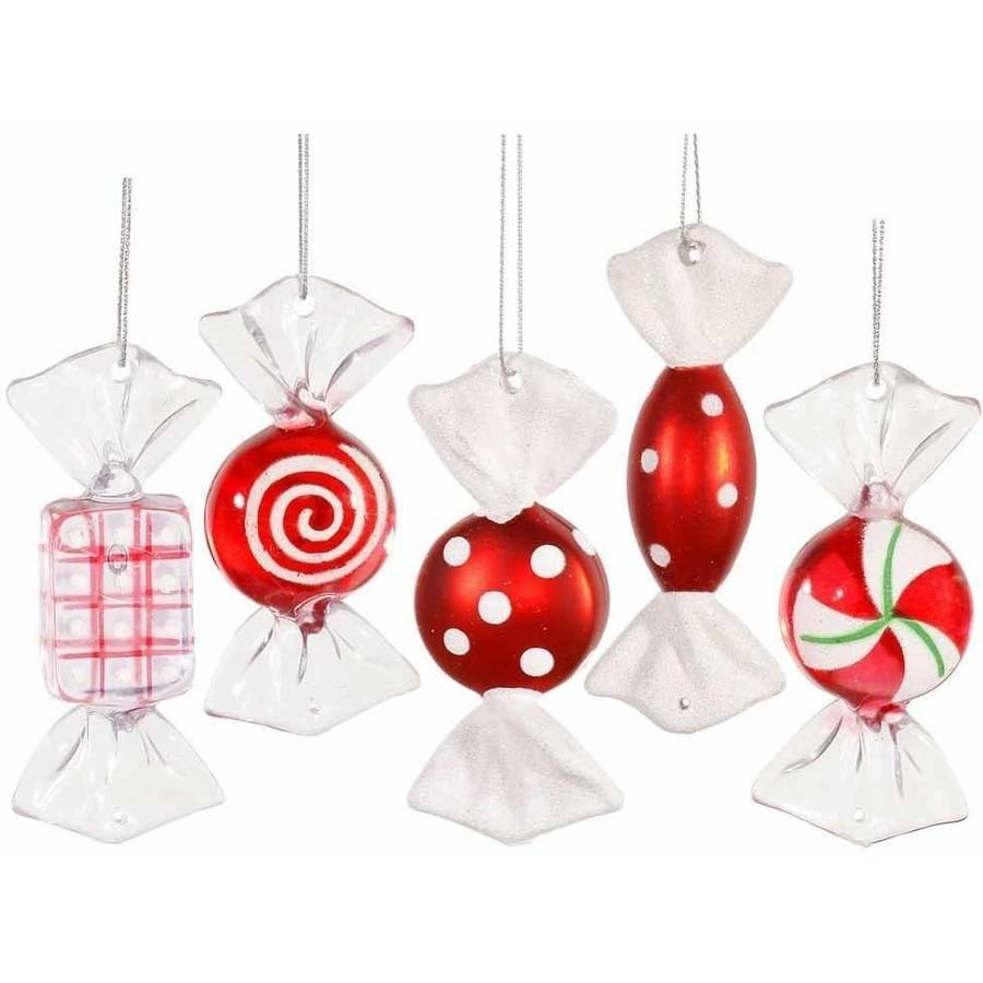 "Vickerman 3.5"" Candy Christmas Ornaments, Red, Pack of 5"