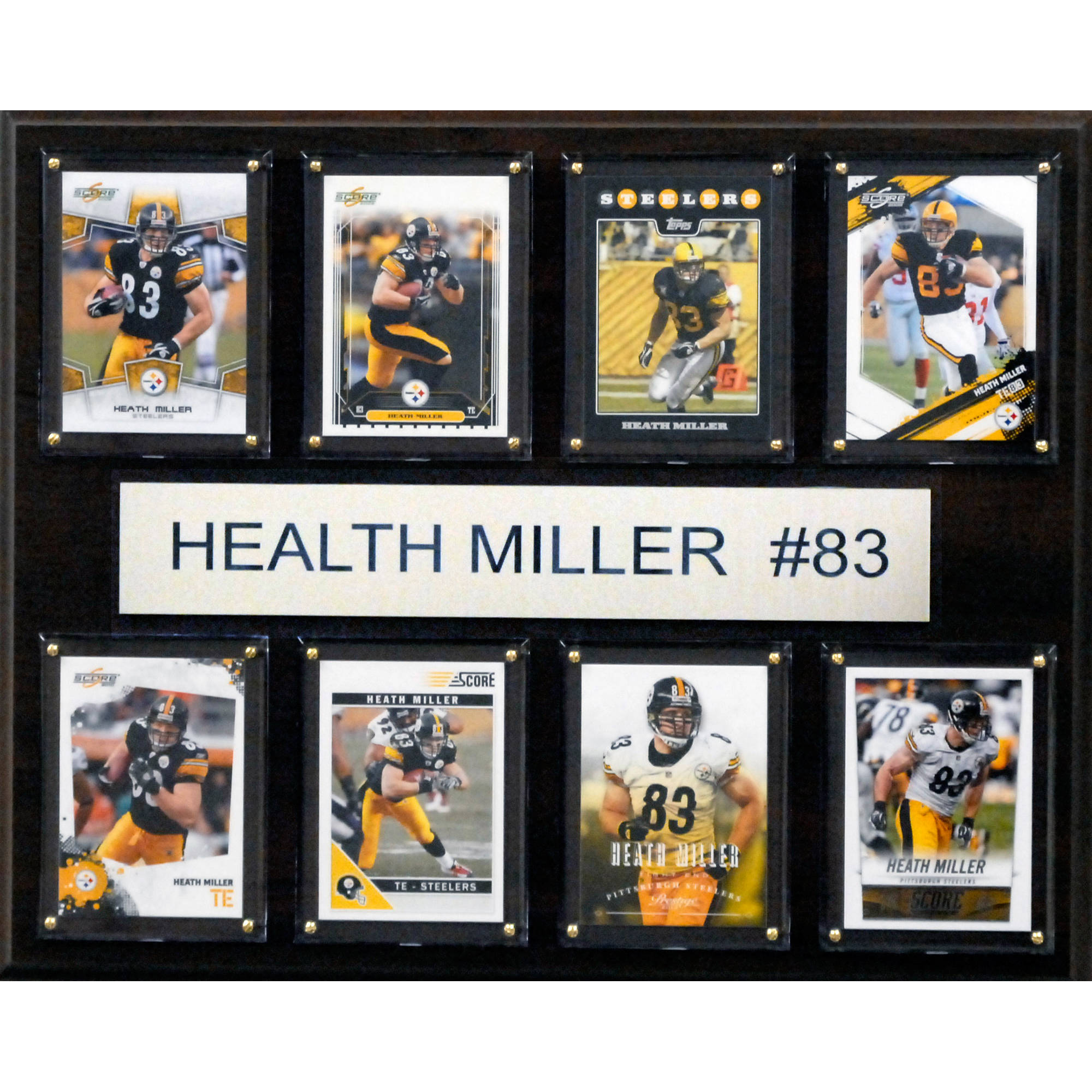 C&I Collectables NFL 12x15 Heath Miller Pittsburgh Steelers 8-Card Plaque