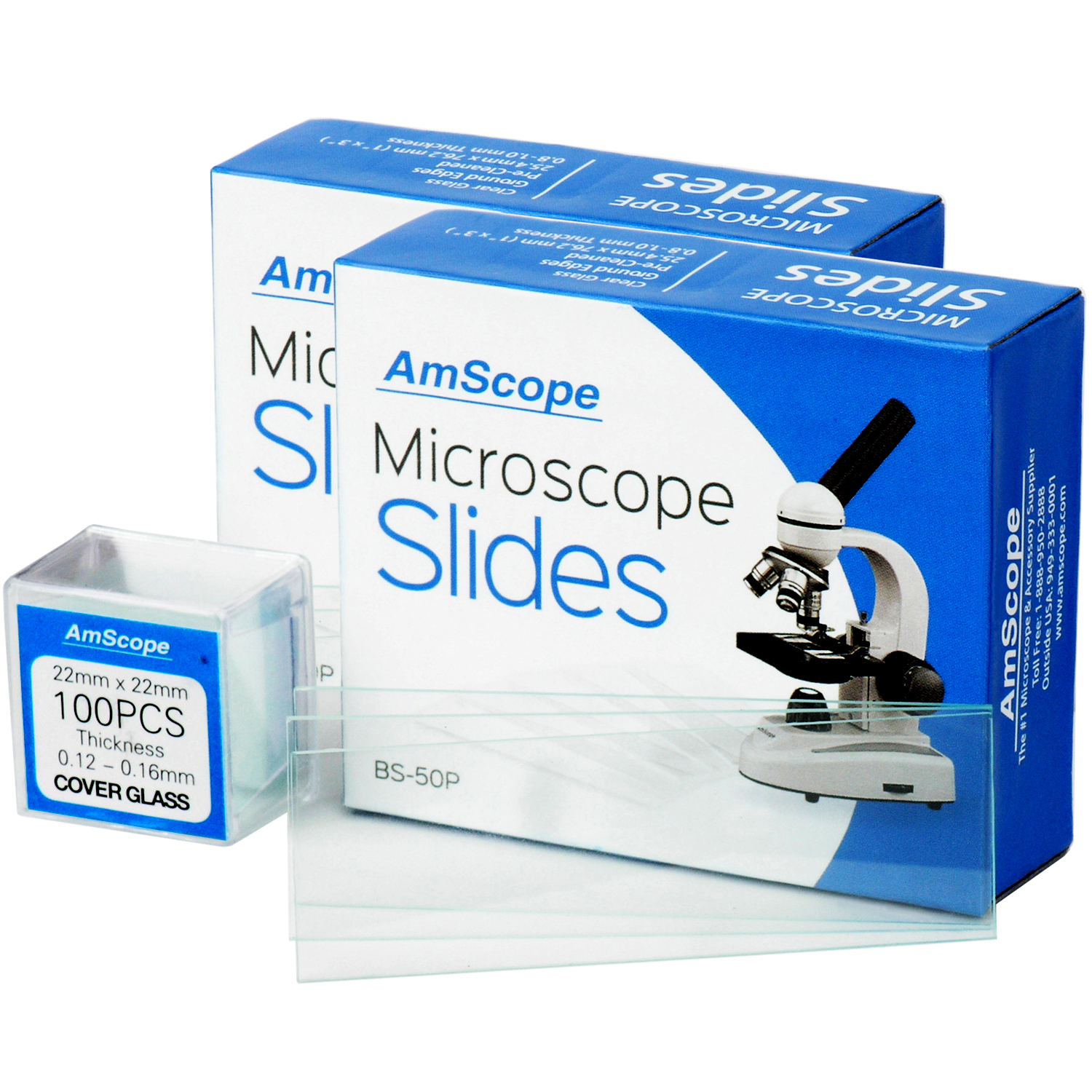 AmScope 100 Pre-Cleaned Blank Microscope Slides and 100 22x22mm Square Cover Glass