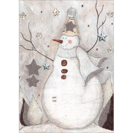 LPG Greetings Snowman with Star Gems and Glitter: Handcrafted Box of 12 Monica Sabolla Gruppo Christmas - Star Wars Christmas Cards