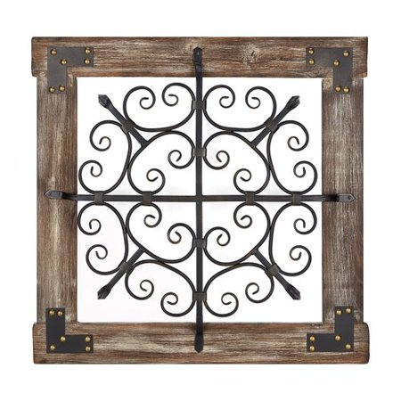 - Fleur De Lis Living Wooden Framed Square with Nailhead Trim Accent Wall D cor