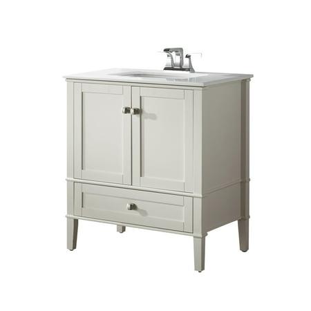 Brooklyn + Max Chesapeake 30 inch Contemporary Bath Vanity in Soft White with White Engineered Quartz Marble Top Dresden Bath Vanity