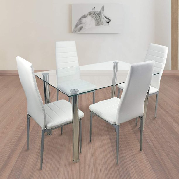 5 Piece Dining Table Set Tempered Glass Top Dinette Sets ...