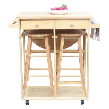 Kitchen Movable Wheeled Semicircle Folding Cart Multifunctional Drawers Wood Rolling Storage Rack Dining Room Shelf