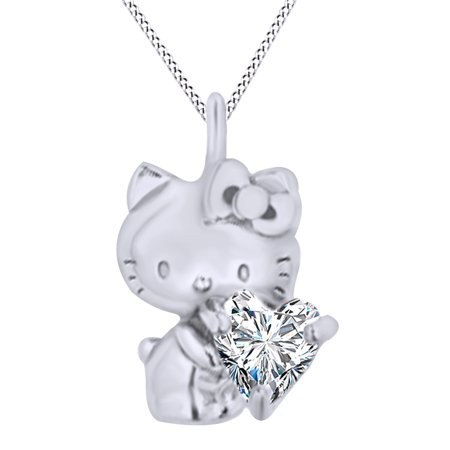 Heart Cut Cubic Zirconia Hello Kitty Charm Pendant Necklace In 14K White Gold Over Sterling Silver