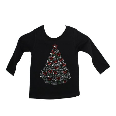 Girls Black Red Christmas Tree With Bows Cotton Christmas Shirt 6-16