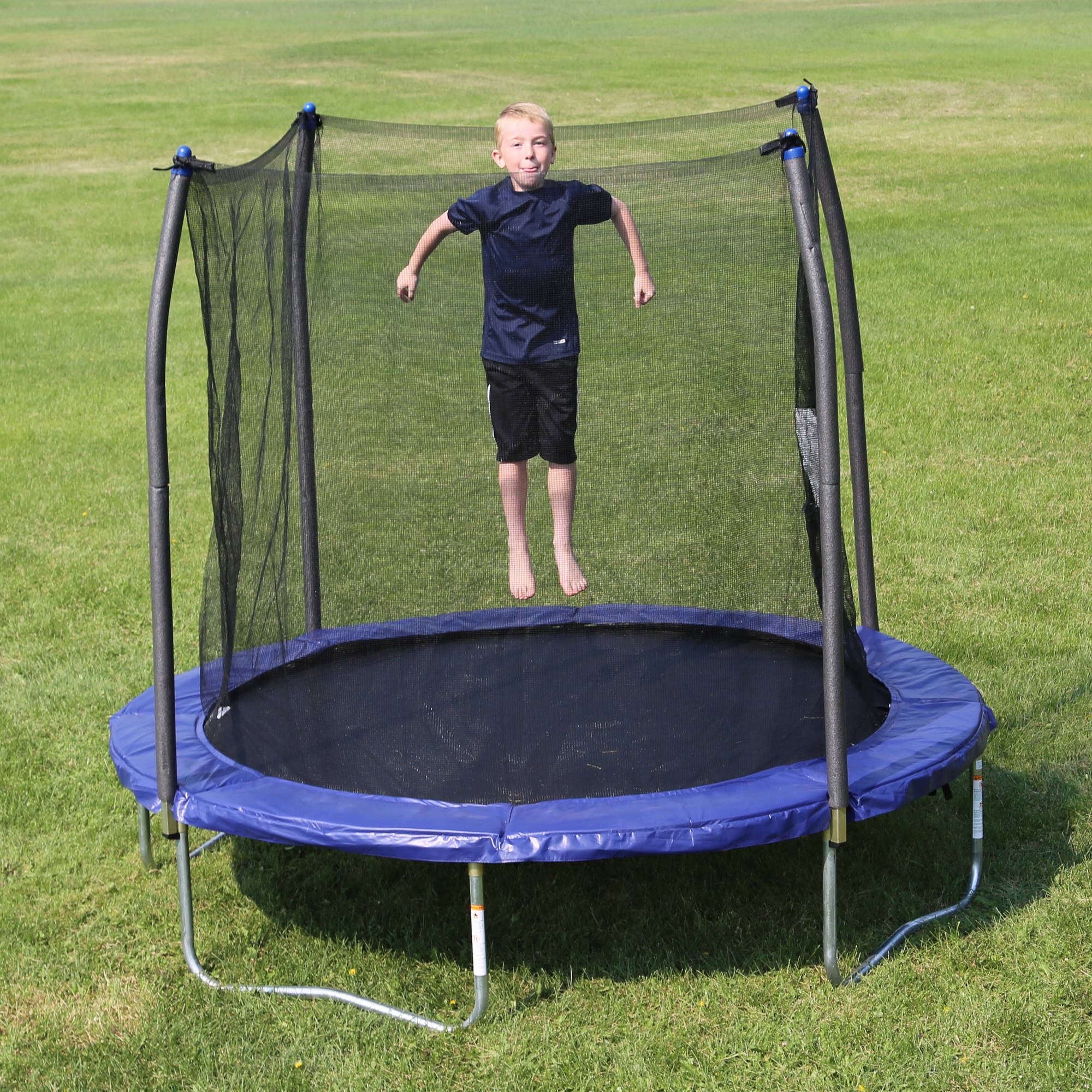Skywalker Trampolines 8' Round Trampoline with Safety Enclosure, Blue