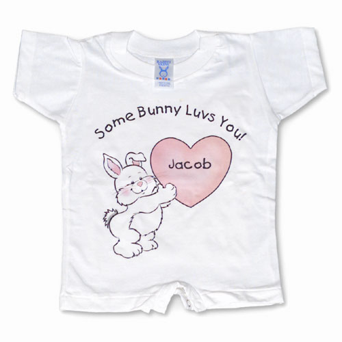Personalized Some Bunny Loves Me T-Shirt Romper