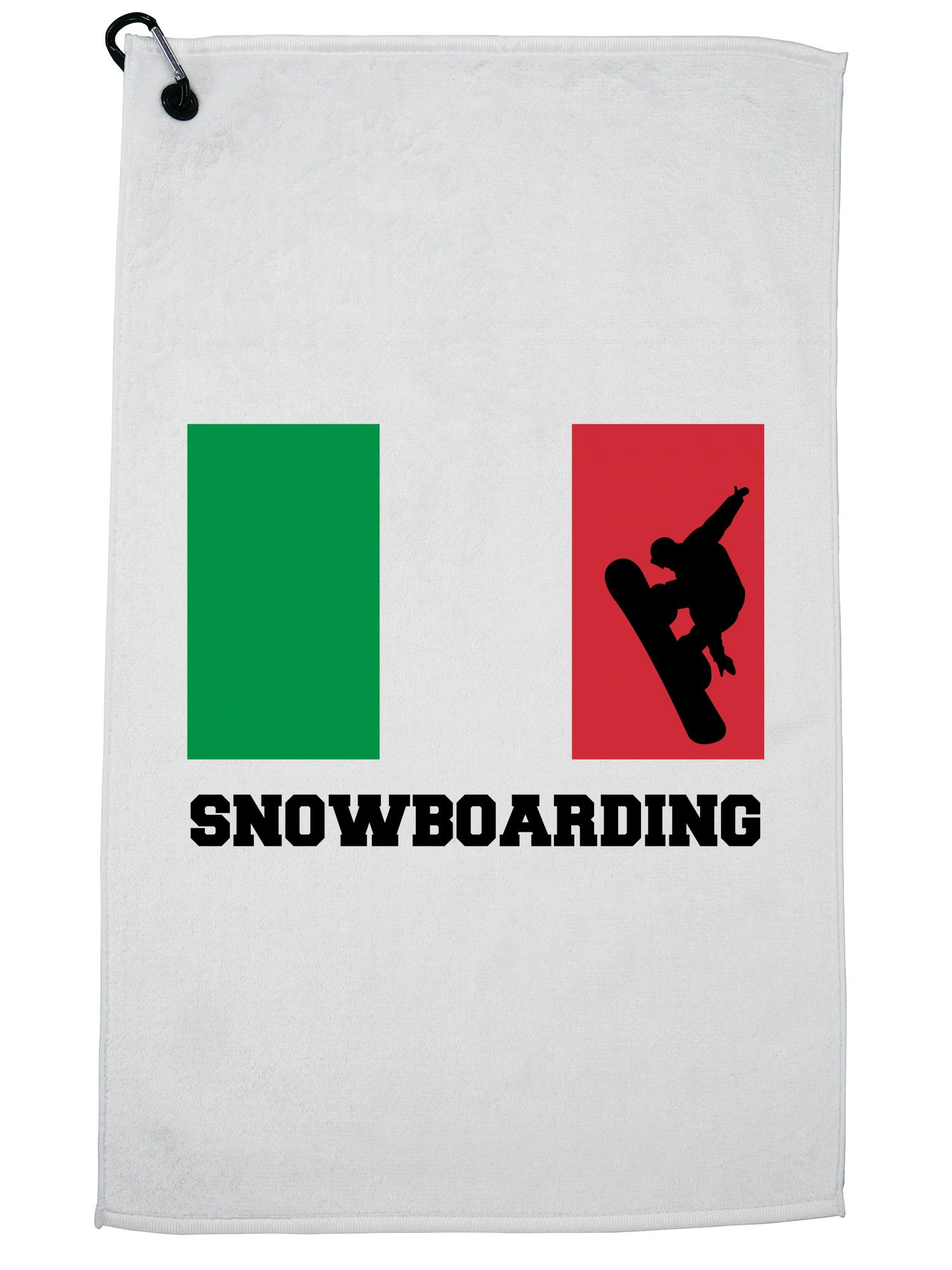 Italy Olympic Snowboarding Flag Silhouette Golf Towel with Carabiner Clip by Hollywood Thread
