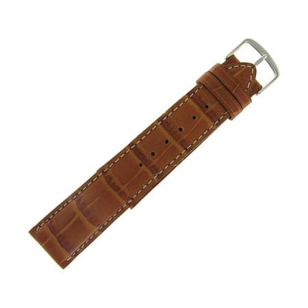 Hadley Roma MS834 22mm Alligator Grain Calfskin Leather Tan Watch Band Mens