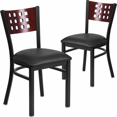 Flash Furniture 2-Pack HERCULES Series Black Decorative Cutout Back Metal Restaurant Chair, Mahogany Wood Back, Vinyl -